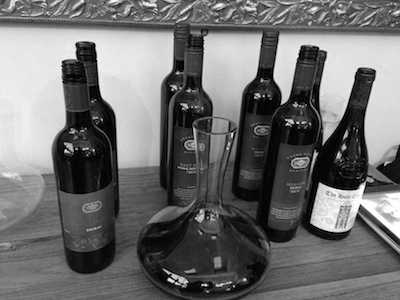 Wines of Grant Burge - from Left to right: Vigneron Shiraz; Daly Road Shiraz/Mourvedre (also in the decanter); Miamba Shiraz & the Holy Trinity GSM