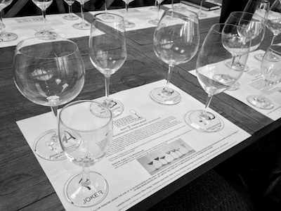 The set of Riedel Glasses used in the tasting (A to D) and a 'standard glass' for comparison (J)