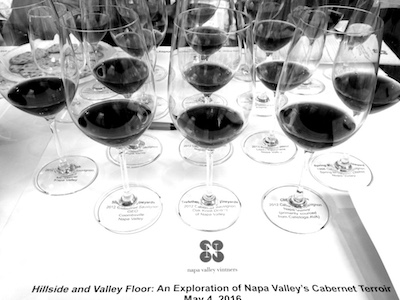 A tasting laid on by the 'Napper Valley Vinters Association'. A high quality comparison between Valley floor wines and those grown higher up he mountainside.